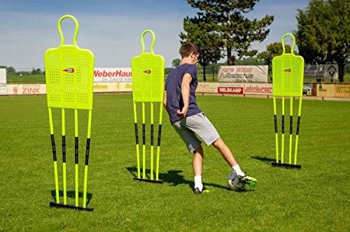 POWERSHOT Trainingsdummy Fußball, Freistoßdummy 180cm - WETTERFEST, Flexibles Federgelenk - Einzel oder 3er Set - Mit oder ohne Standfuß ((Dummy - 3er Set))