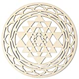 Simurg 11.5'' Sri Yantra Crystal Grid Sri Yantra Wall Art Hanging Wooden Sacred Geometry Wall Decor