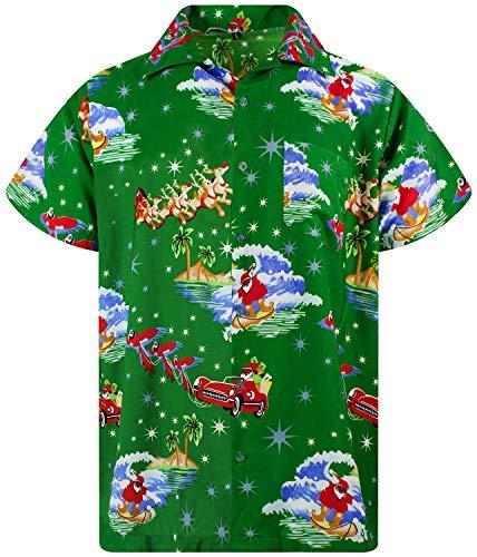 King Kameha Funky Hawaiian Shirt, Shortsleeve, Christmas, Surf Santa, Green, L