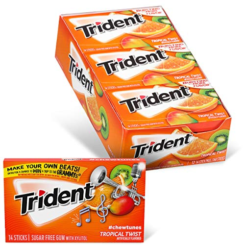 Trident Tropical Twist Flavor Sugar Free Gum-12 Packs (168 Pieces Total) Packaging May Vary