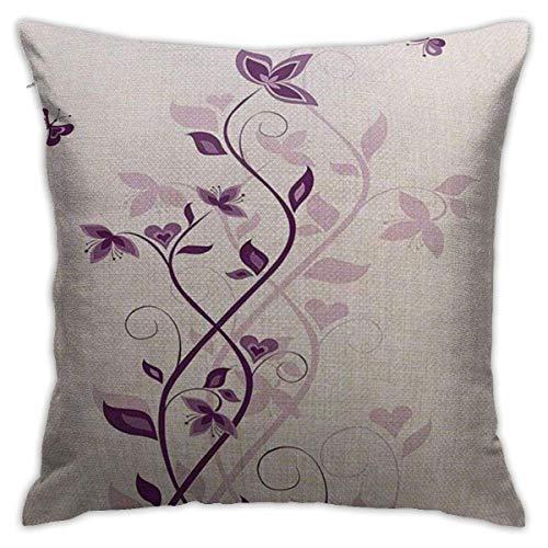 mallcentral-EU Kissenbezüge, Kissenbezüge Lila Veilchenbaum Persische Fliederblüten mit Schmetterlingskunst Zierpflanze Grafik Lila Weiß