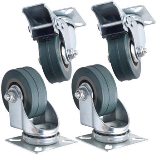Kabalo Set di 4 x girevole Heavy Duty GOMMA GRIGIA 50mm (2 pollici) Castor / Caster Wheels (2 x di serie, 2 x freno), Capacità di carico 40kg per ruota [Set of 4 x Swivel Heavy Duty GREY RUBBER 50mm (2 inch) Castor / Caster Wheels (2 x standard, 2 x brake), Load capacity 40kg per wheel]