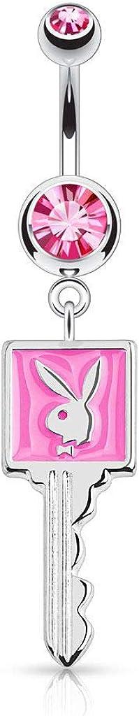 Pierce Plex Playboy Bunny Enamel Key and CZ Belly Button Ring 14ga 316L