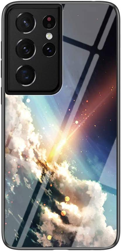 """Luhuanx Case for Samsung Galaxy S21 Ultra,Samsung S21 Ultra/S30 Ultra Case,Tempered Glass Quality with Star Crescent Moon Design Back Case for Galaxy S21 Ultra in 6.8"""" inch(2021) Anti-Drop"""