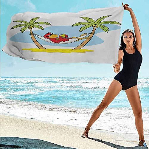 Badhanddoeken Strand Grappige Illustratie Papegaai Liggend In Hangmat Tussen Palm Boom Schaduw In Tropics En Baden Yoga Zachte Zwembad Handdoek Badkamer Reizen/Fitness/Zwemmen Strandhanddoek Absorbens Snel