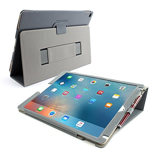 Snugg iPad Pro 12.9 2015 Case, Leather iPad Pro 12.9 2015 Case Cover Protective Flip Stand Grey for Apple iPad Pro 12.9 2015