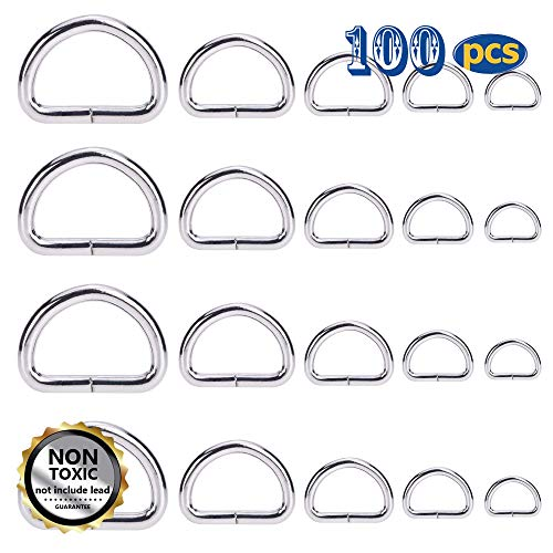 SBest 100 Pcs Silver Heavy Duty Metal D Ring Non Welded D-Rings Assorted Multi-Purpose Semi-Circular D Ring for Hardware Bags Ring Hand DIY Accessories 0.5 Inch,0.63 Inch,0.75 Inch,1 Inch,1.25 Inch