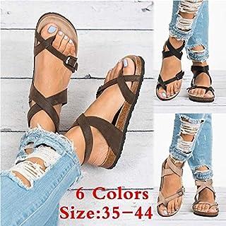 Summer Beach Women's Fashion Sandals Bohemia Gladiator Female Flip Flops Ladies Footwear Casual Women Summer Shoes Plus Szie 35-44(Beige,34)