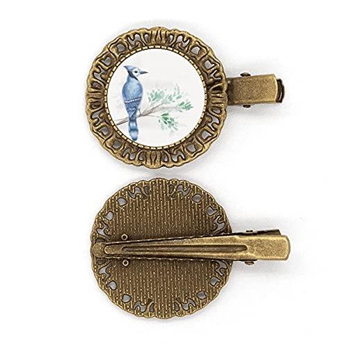 Branch Leaf Blue Parrot Art Deco Geschenke Mode Haarnadel Haarschmuck Brosche Haarklammer Barrette