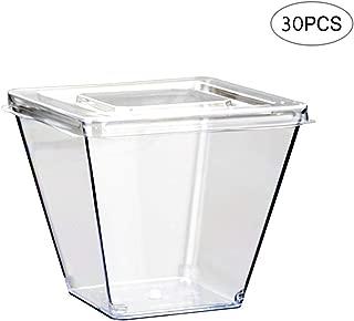 225 ml Paquete de 100 vasos de pl/ástico con tapas tazas para batidos con tapas 8 onzas tazas de caf/é con tapa para hielo