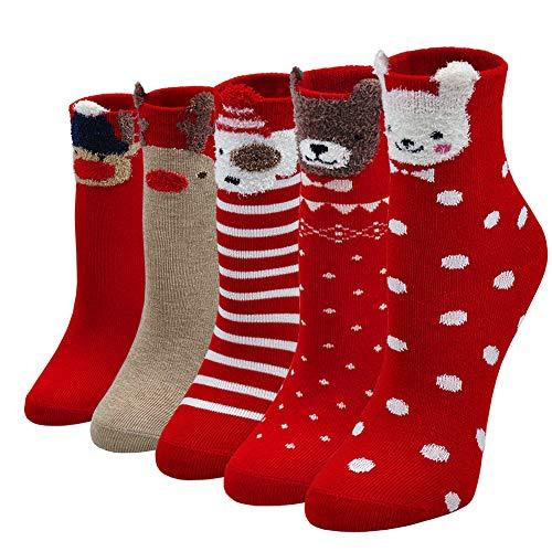 LOFIR Weihnachtssocken Kinder Socken aus Baumwolle Weihnachtsmann Socken Kleinkind Tier Socken Geschenke für kleine Mädchen Jungen 2-11 Jahre, 5 Paare, Multicoloured 1, L (für Schuhe Größe 24-29)