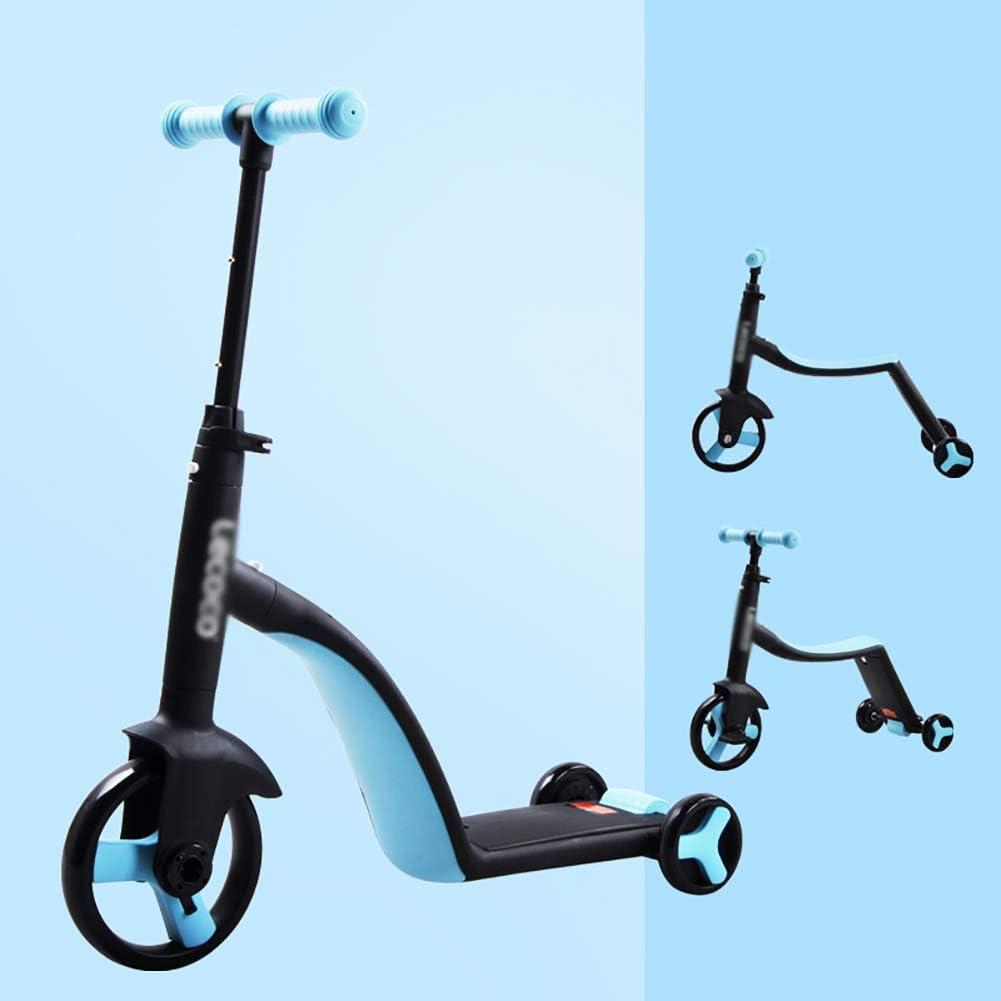 JZX Niño plegable Scooter-Scooter Kick 3-In-1 Convertible Toddler, Patada ajustable del manillar para 2-6YR Niños/Niñas, Riel azul de 3 ruedas/Tabla de deslizamiento/asiento