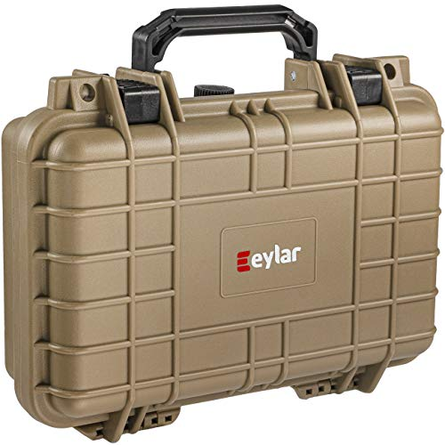 Eylar Tactical Hard Gun Case Water & Shock Proof with Foam TSA Approved 11.6 Inch 8.3 Inch 3.8 Inch (Tan)