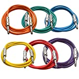 Seismic Audio SATRX-6BGORYP 6 Pack of Multi Color 6' 1/4'TRS to 1/4' TRS Patch Cables