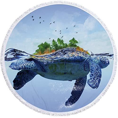 Sticker Superb Boho Indien Mandala Microfibre Serviette De Plage Ronde Couverture avec Glands,150 cm Grande Piscine De Bain Serviettes Portable Sport Voyage Serviette (Grosse Tortue)