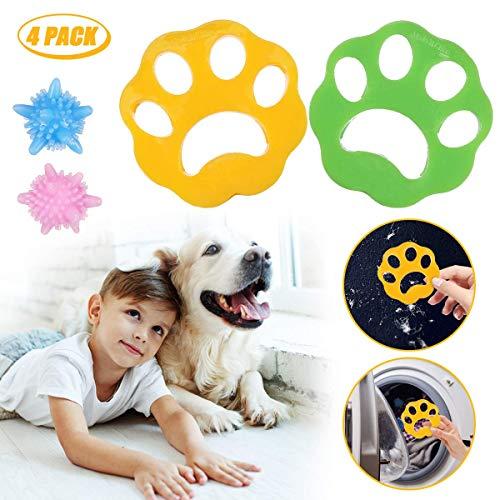 JOYXEON 2x Tierhaarentferner Haustier Haarentferner Flusensiebe für Waschmaschine Haarfänger Haarentfernung + 2x Wäscherei Bälle, Wiederverwendbar, für Hundehaar, Katzenfell, alle Haustiere