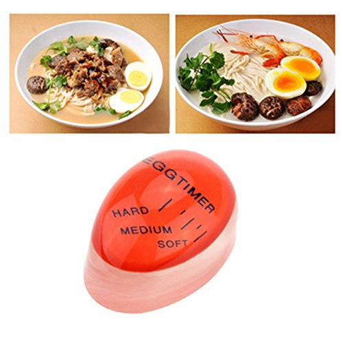 SISHUINIANHUA 1pcs Ei Perfekte Farbwechsel Timer Yummy weich hart gekochte Eier Kochen Küche Umweltfreundlich Harz Eieruhr Red Timer-Tools