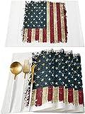 Tovagliette Da Tavola Pz American Independence Day Tovagliette Resistenti Al Calore Lino Lavabile Tovagliette Da Pranzo Cucina Facile Da Pulire Shabby30 Cm X 45 Cm (12 Pollici X 18 Pollici) 6 Pezzi
