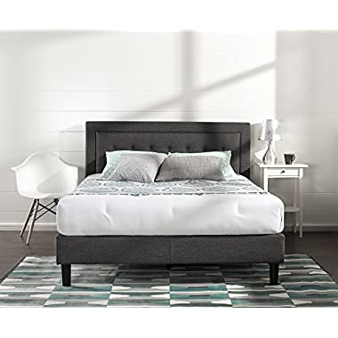 Zinus Upholstered Button Tufted Premium Platform Bed/Strong Wood Slat Support/Dark Grey, King