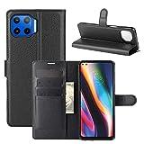 Fertuo Hülle für Moto G 5G Plus, Handyhülle Leder Flip Hülle Tasche mit Standfunktion, Kartenfach, Magnetschnalle, Silikon Bumper Schutzhülle Cover für Motorola Moto G 5G Plus, Schwarz