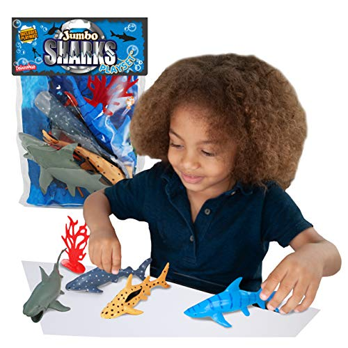 Shark Jumbo Playset from Deluxebase . Large bag of toy shark figures. This cool large shark toy sea animals figures set includes a Great White Shark and a Whale Shark. The perfect shark toys for boys,