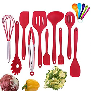 Silicone Kitchen Utensil Set, 10 Piece Best Kitchen Utensils, Non-Stick Cooking Utensils Set, Heat Resistant Kitchen Gadgets with Solid Core for Cooking Baking BBQ (Red)