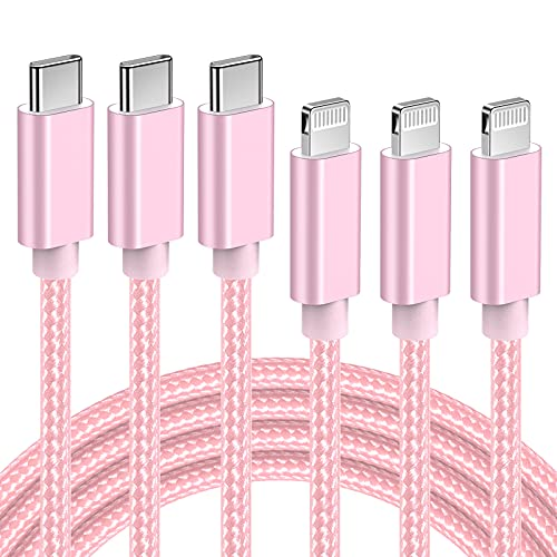 Quntis USB C a Lightning Cable [2M 3Pack MFI Certified] Cargador de iPhone de nailon compatible con iPhone 11 / Pro/Max/X/XS/XR/XS Max / 8 / Plus