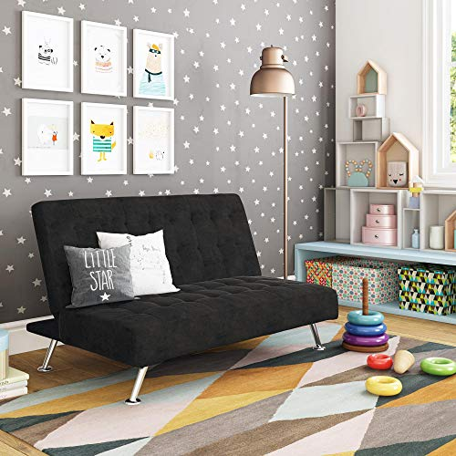 DHP Ariana Kids Sofa Futon, Converts from Futon to Bed for Kids, Black