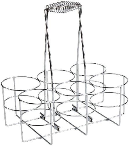APS - Portabottiglie da 32 x 21,5 cm, altezza 32,5 cm, in metallo cromato, per 6 bottiglie, in confezione colorata