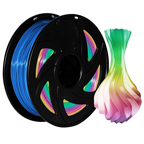 PLA Filament Rainbow Spool Multicoloured PLA Filament 1.75 mm 3D Printing Filament, 1 kg Pack with 1 XVICO