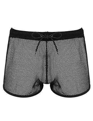 iEFiEL Herren Transparent Boxershorts Fischnetz Low Rise Unterhose Loose Fit Shorts mit Kordelzug Erotik Dessous Unterwäsche Schwarz XX-Large
