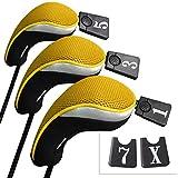 Andux Funda de Palo de Golf para Drivers Maderas con Intercambiable No. Etiqueta Set de 3 MT/mg07 Negro/Amarillo