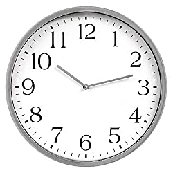 Patton Wall Decor 16 Inch Round Essential Silver and White Wall Clock