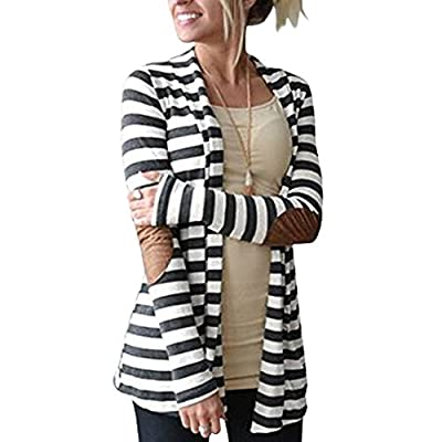 Merryfun Women's Elbow Patch Striped White Gray Cardigan Sweater 2XL