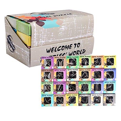 BOROK 24St. Metall Knobelspiele IQ Spiele Set 3D Puzzle Geduldspiele Denkspiel Logikspiele Rätsel Brainteaser als Adventskalender Inhalt für Kinder und Erwachsene
