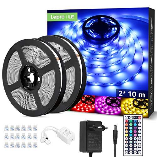 LE Tira Luz RGB 20M, Tira LED 5050 SMD, Tiras Luces LED RGB con Función de Memoria, Voltaje de Entrada 12V, Ángulo de Haz 120°, Fuente de Alimentación y Controlador Incluidos