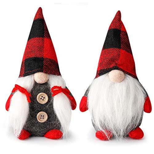 D-FantiX Mr and Mrs Christmas Gnomes Plush Set of 2, Handmade Swedish Tomte Santa Scandinavian Figurine Nordic Plush Elf Doll Gnome Ornaments Christmas Decorations Home Decor 7.5 Inch