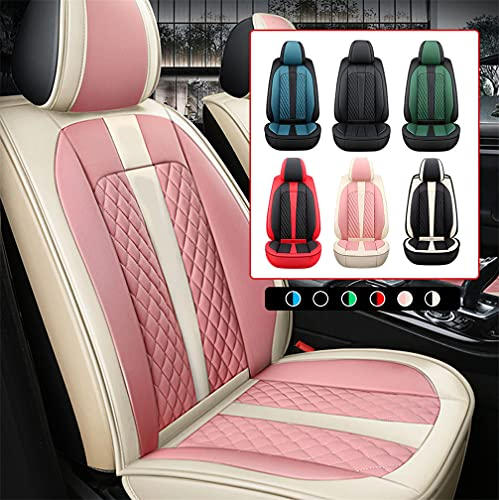 Car Seat Covers for DS DS3 Cabrio DS4 Crossback DS5 Front Vehicle Seat Covers Faux Leather Protective Cover Beige&Pink