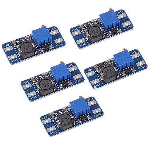 Anmbest 5PCS MT3608 Step-Up Adjustable DC-DC Switching Boost Converter Power Supply Module 2-24V to 5V-28V 2A
