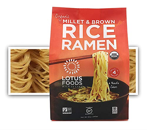 Lotus Foods Gourmet Organic MIllet and Brown Rice Ramen Noodles, 4 Count, 10 Ounce (Pack of 6)