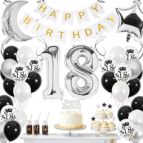 SPECOOL 18 Anni Addobbi per Feste di Palloncini Compleanno, Decorazioni Compleanno Palloncini Metallizzati Argento Nero e Bianchi Coriandoli Argento Decorazione per Uomini e Donne