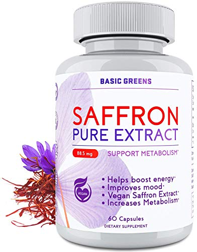 Appetite Suppressant Saffron Supplement and Weight Loss for Women - Saffron Extract Supplement 88.5mg - Appetite Control - Vegan Saffron Extract (60 Capsules) by BASIC GREENS
