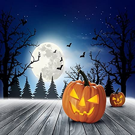 Yeele 6x6ft Halloween Backdrop Pumpkin Lamps Face Horror Night Forest Bat Wooden Floor Party Decor Photography Background for Pictures Baby Kids Children Portrait Photo Booth Vinyl Studio Props