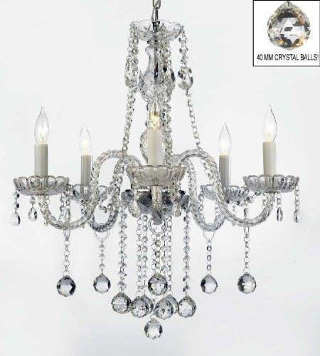 """Authentic All Crystal Chandeliers Lighting Chandeliers with Crystal Balls! H27"""" X W24"""""""