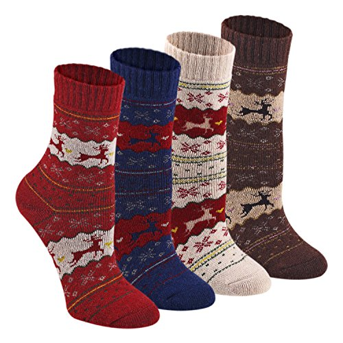 Keaza Women's Vintage Style Cotton Knitting Wool Warm Winter Fall Crew Socks - C5 (4 Pack)