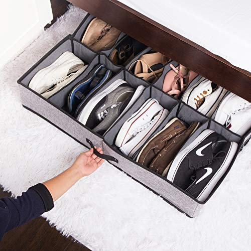 Insel Under Bed Shoe Organizer - Bamboo Charcoal Storage Solution for Shoes & Clothes Under The Bed, Sturdy & Durable Underbed Container Box with 12 Large Bins (Grey)