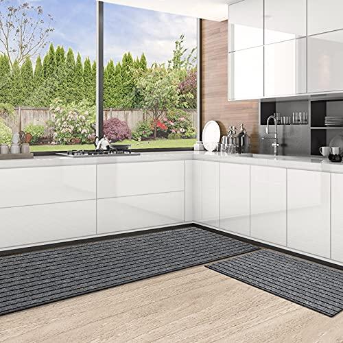 Color&Geometry Küchenläufer 2-teiliges,küchenteppich waschbar rutschfest, Teppich küche mit Gummirücken, Küchenmatte für saugfähig, für Läufe Flur, Küche, Eingang (44x 75 cm + 44x 100 cm, Grau )