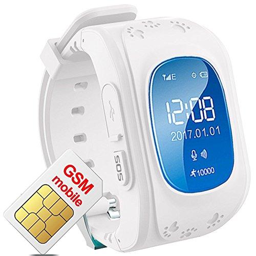 Hangang Tracker GPS per bambini Smartwatch bambini anti-erra SOS Calling puntatore di bambini a prova di acqua XJ12 in tempo reale, Orologio Smart Kids compatibile con telefoni Smartwatch (white)