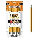BIC Evolution Cased Pencil, #2 Lead, Yellow Barrel, 24-Count