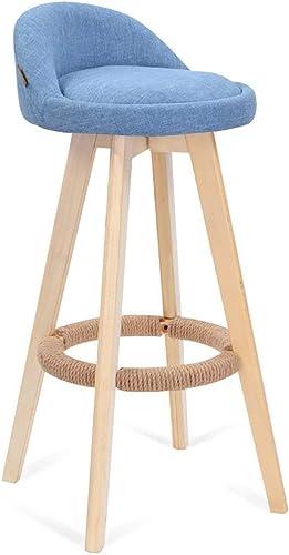 Tingting-Taburete Silla De Madera Maciza Taburetes De Bar Silla De Comedor Giratoria Taburete Alto PU Algodón De Lino Bar Cafetería (Color   azul, Talla   36  33  80cm)